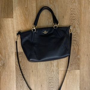 Coach dark blue crossbody leather bag/satchel